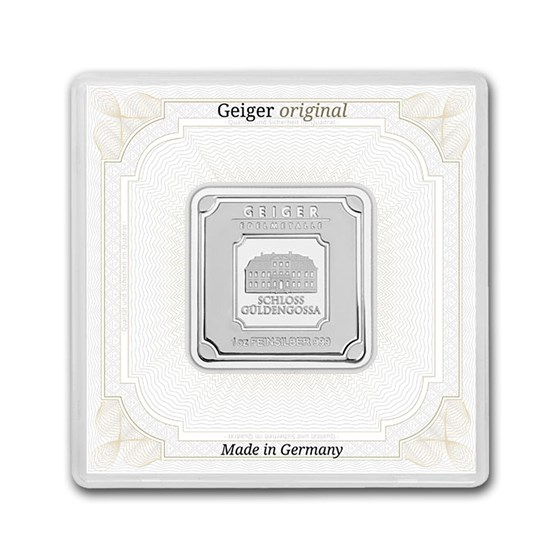 1 oz Silver Square - Geiger Edelmetalle (Encapsulated w/Assay)