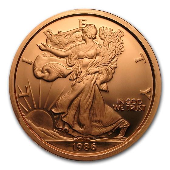 1 Pound Copper Round - Walking Liberty