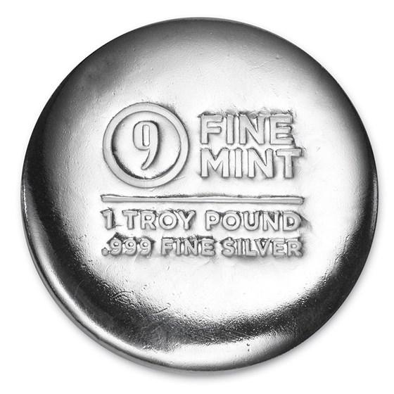 1 Troy Pound Cast-Poured Silver Round - 9Fine Mint