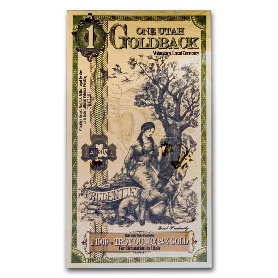 1 Utah Goldback - Aurum Gold Foil Note (24k)