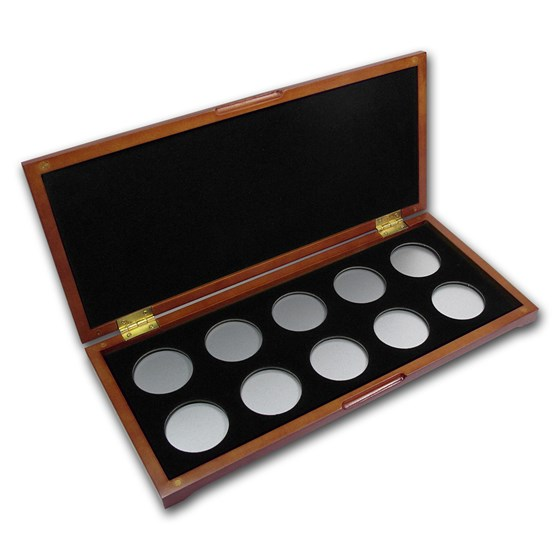10 coin Wood Presentation Box (Silver) - H style Holders