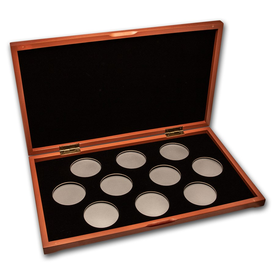10 coin Wood Presentation Box (Silver) - X6D Style Holders