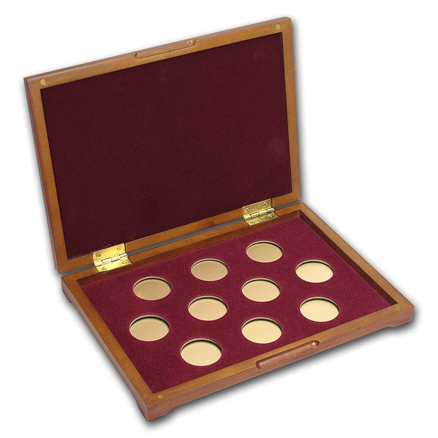 10 coin Wood Presentation Box (Small Gold Coins)