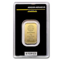 10 gram Gold Bar - Argor-Heraeus (In Assay)
