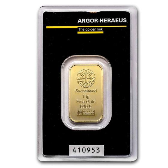 10 gram Gold Bar - Argor-Heraeus (In Assay)