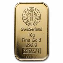 10 gram Gold Bar - Argor-Heraeus KineBar Design (In Assay)