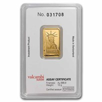 10 gram Gold Bar - Credit Suisse Statue of Liberty (New Assay)