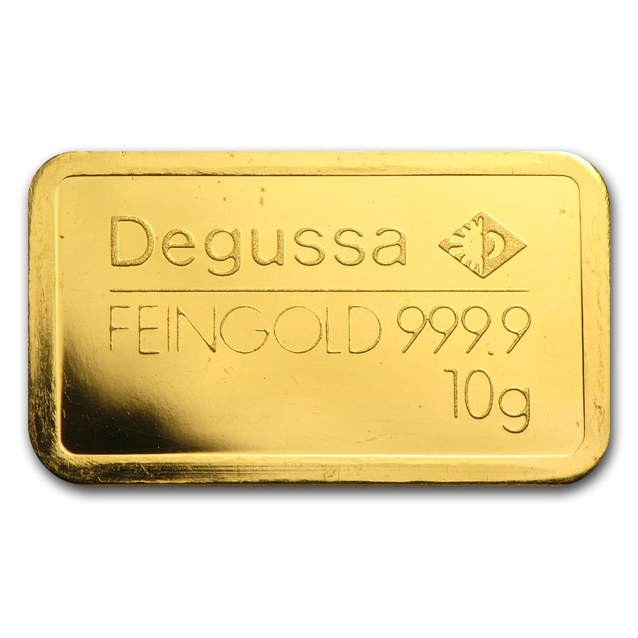 10 gram Gold Bar - Degussa (Pressed)