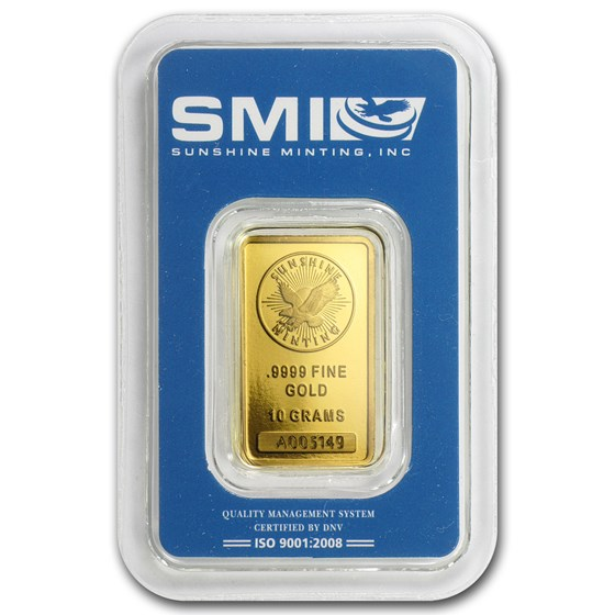 10 gram Gold Bar - Sunshine Minting New Design (In TEP Packaging)