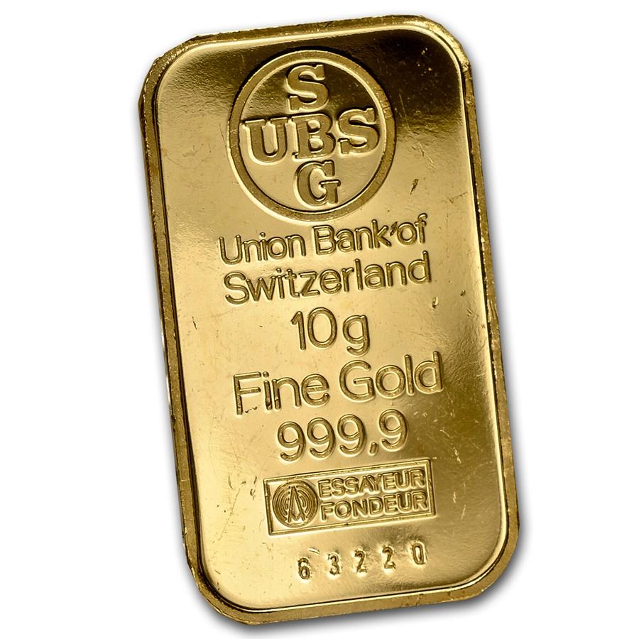 10 gram Gold Bar - UBS (No Assay Card)
