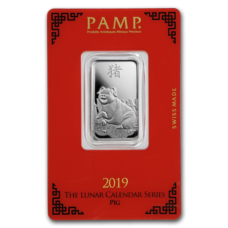 10 gram Silver Bar - PAMP Suisse (Year of the Pig)