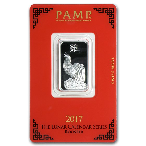 10 gram Silver Bar - PAMP Suisse (Year of the Rooster)