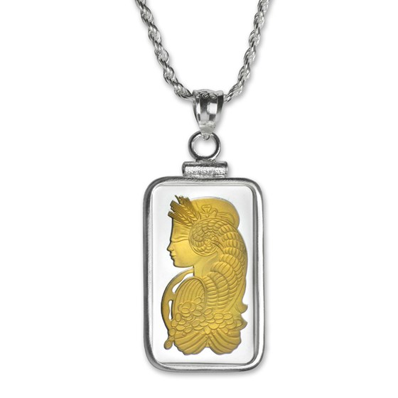 10 gram Silver - PAMP Suisse Gilded Fortuna Pendant (w/Chain)