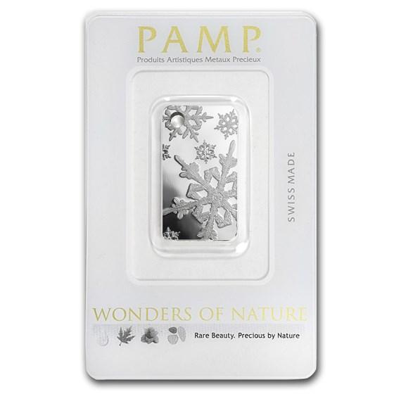 10 gram Silver Pendant - PAMP Suisse Ingot (Snow Flakes)