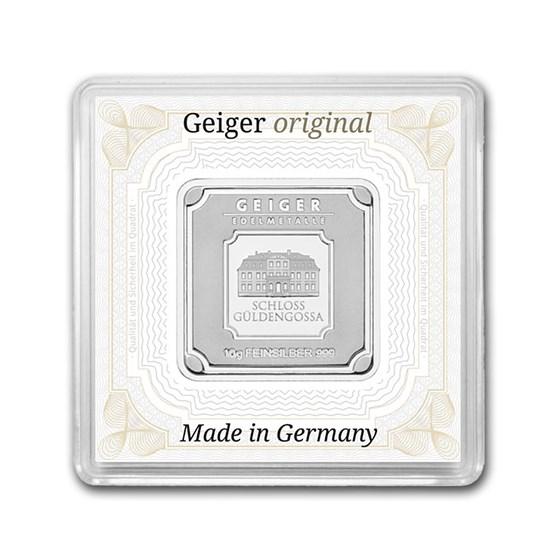 10 gram Silver Square - Geiger Edelmetalle (Encapsulated w/Assay)