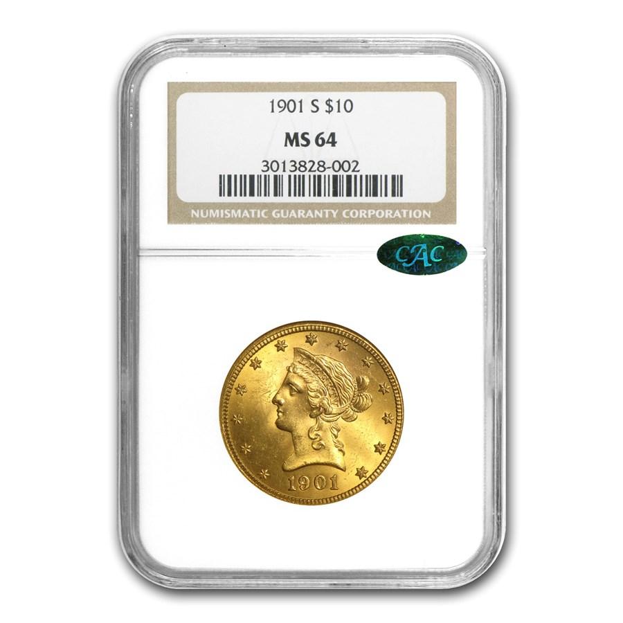 $10 Liberty Gold Eagle MS-64 PCGS/NGC (CAC, Random)