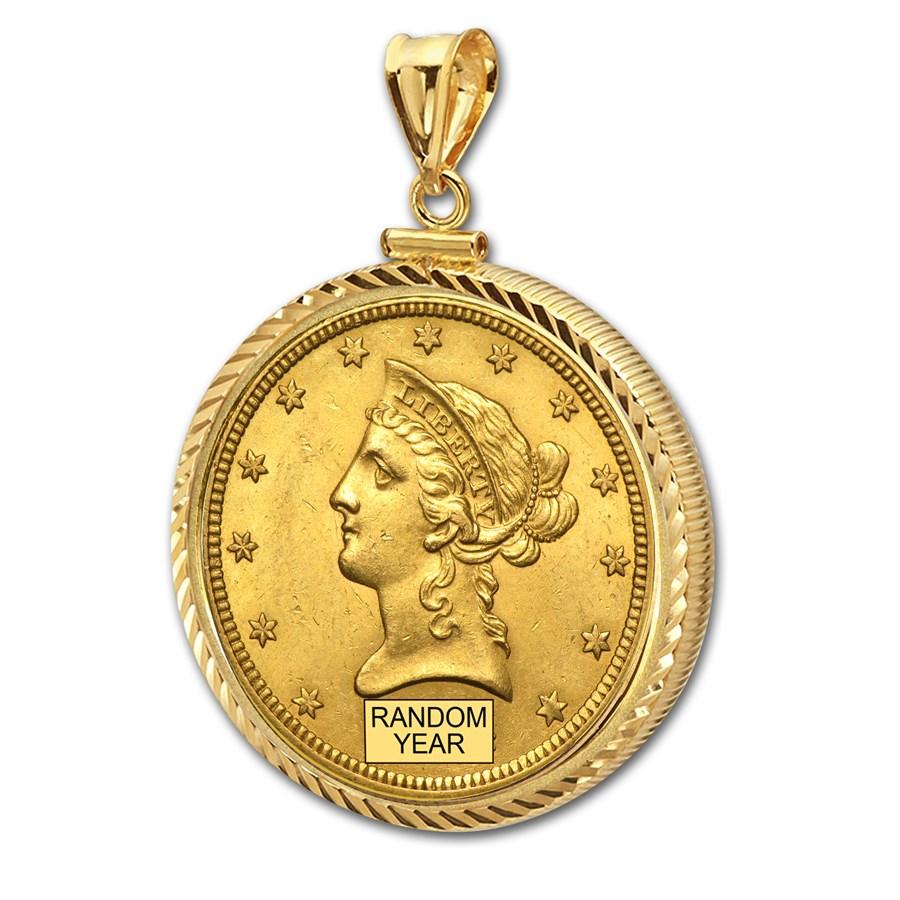 $10 Liberty Gold Eagle Pendant (Diamond-ScrewTop Bezel)