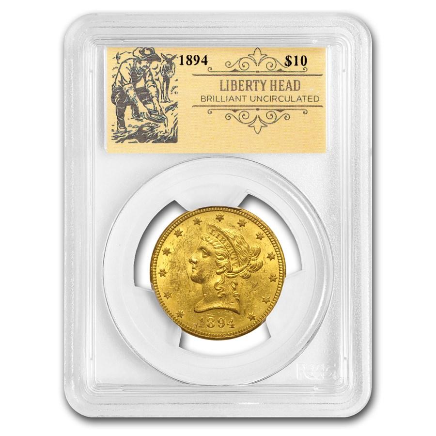 $10 Liberty Head Gold Eagle BU PCGS (Random, Prospector Label)