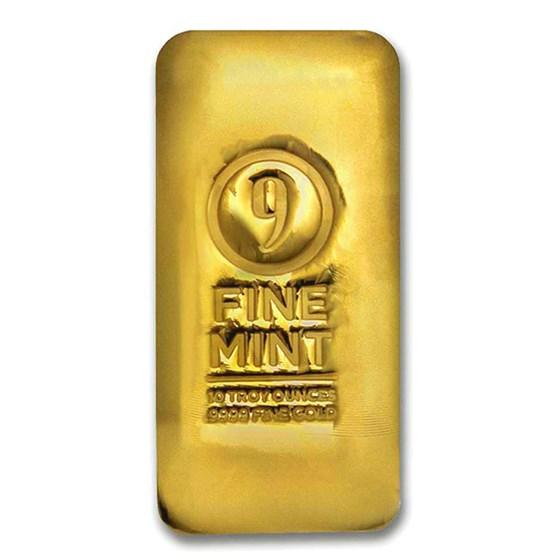 10 oz Cast-Poured Gold Bar - 9Fine Mint