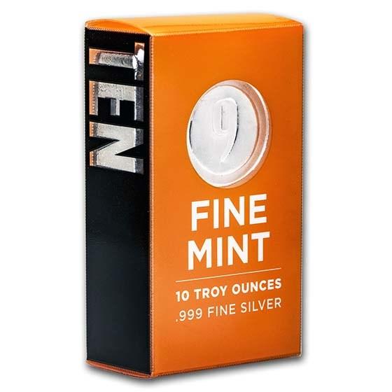 10 oz Cast-Poured Silver Bar - 9Fine Mint