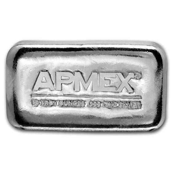 10 oz Cast-Poured Silver Bar - APMEX