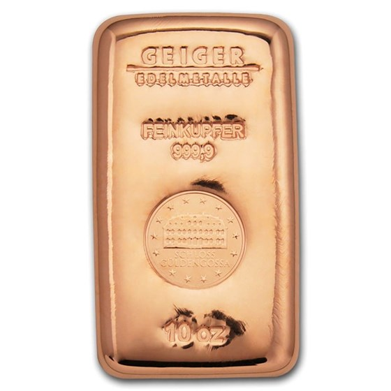 10 oz Copper Bar - Geiger (Poured, .9999 Fine)