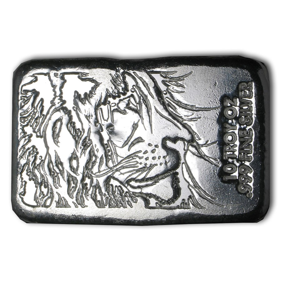 10 oz Hand Poured Silver Bar - Lion