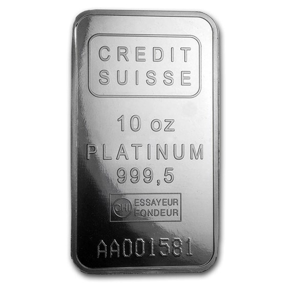 10 oz Platinum Bar - Credit Suisse (.9995 Fine, w/Assay)