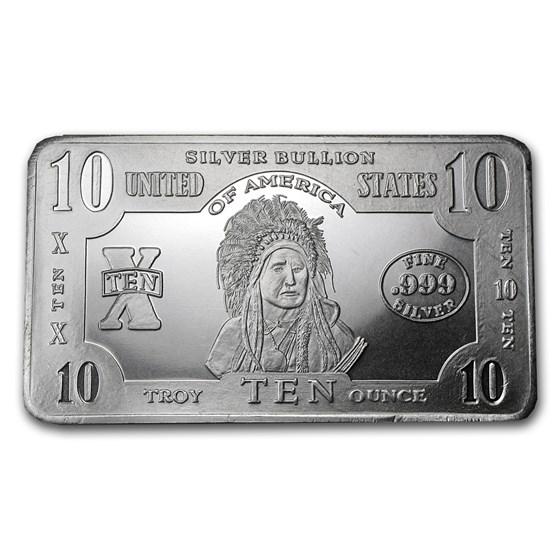 10 oz Silver Bar - 1899 $5 Indian