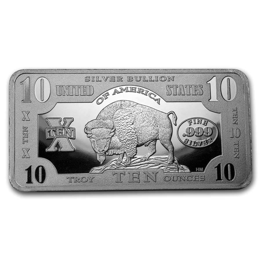 10 oz Silver Bar - 1901 $10 Bison