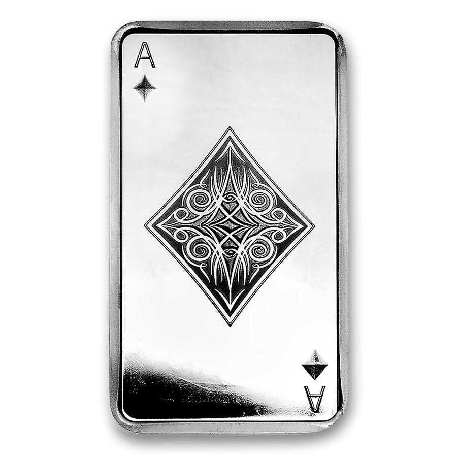 10 oz Silver Bar - Ace of Diamonds