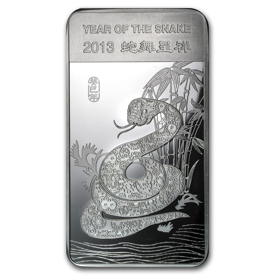 10 oz Silver Bar - APMEX (2013 Year of the Snake)