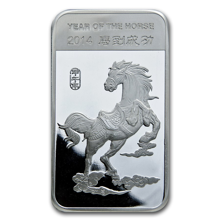 10 oz Silver Bar - APMEX (2014 Year of the Horse)