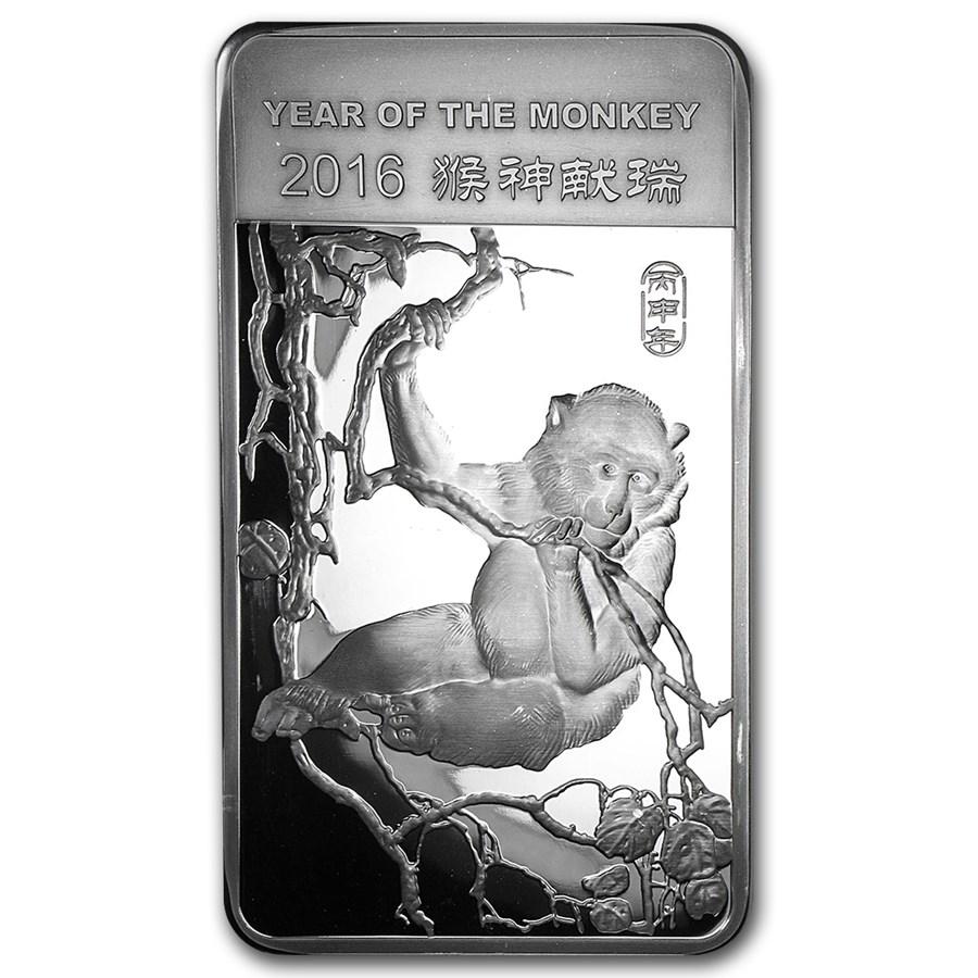 10 oz Silver Bar - APMEX (2016 Year of the Monkey)