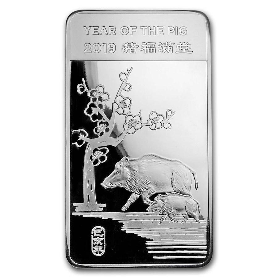 10 oz Silver Bar - APMEX (2019 Year of the Pig)
