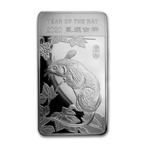 10 oz Silver Bar - APMEX (2020 Year of the Rat)