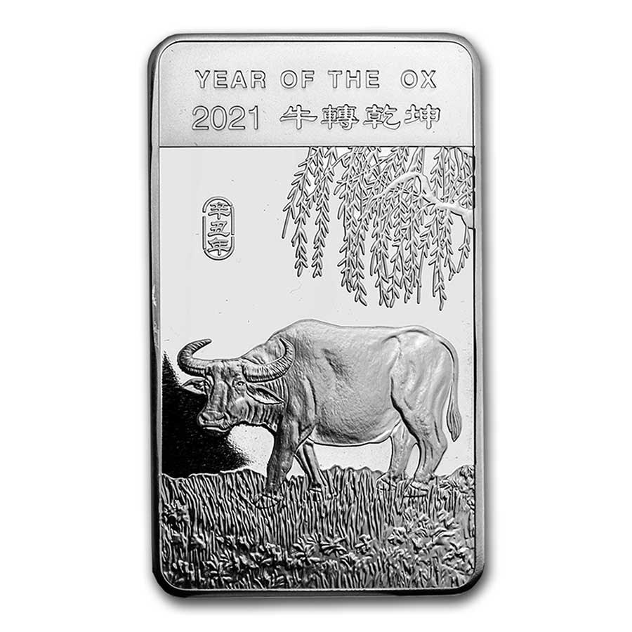 10 oz Silver Bar - APMEX (2021 Year of the Ox)