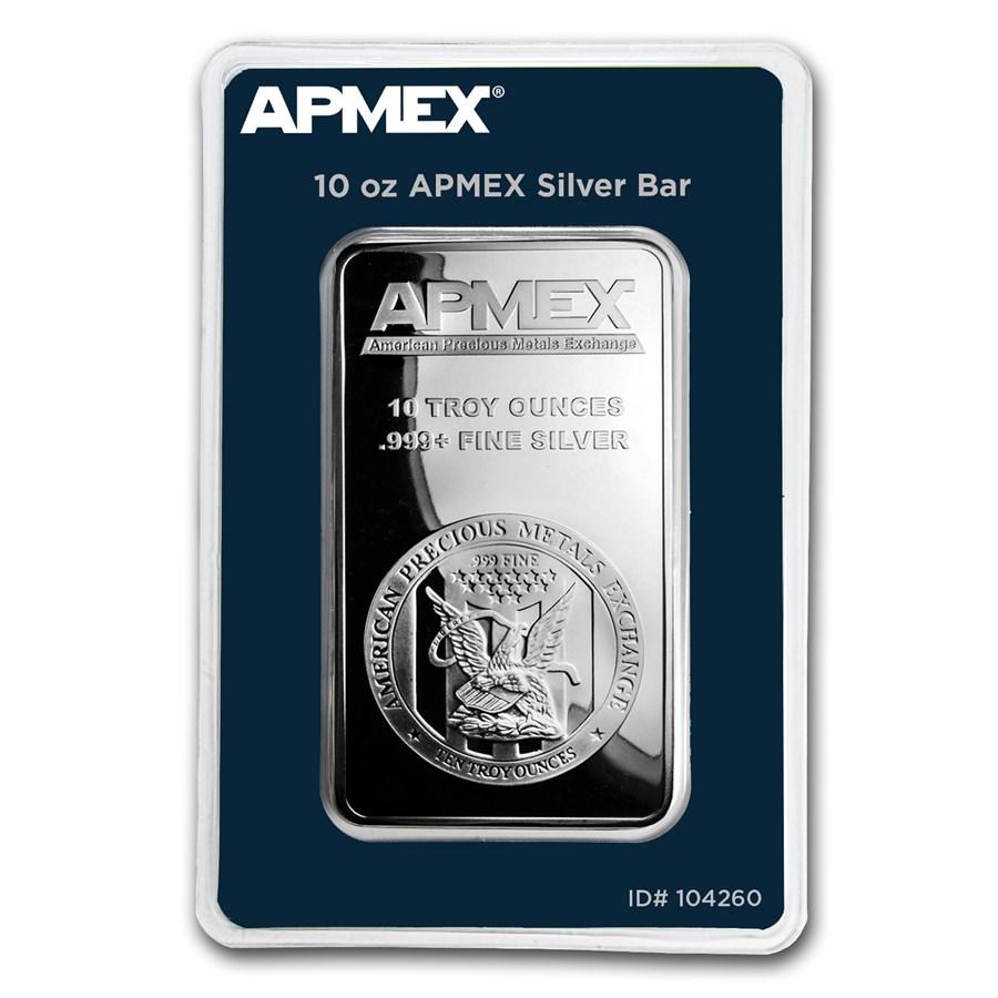 10 oz Silver Bar - APMEX (TEP Packaging)