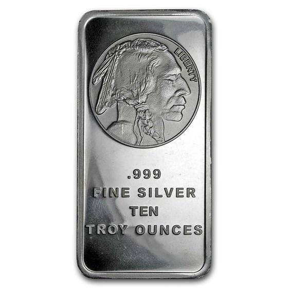 10 oz Silver Bar - Buffalo