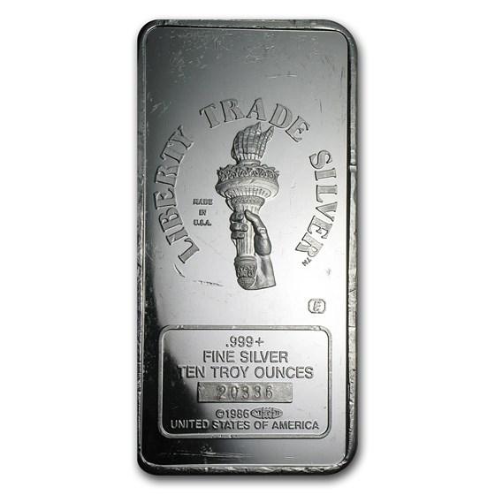 10 oz Silver Bar - Engelhard (Statue of Liberty, MTB)