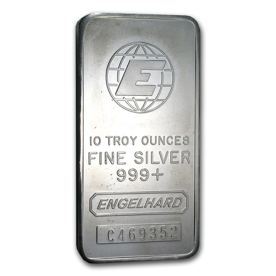 "10 oz Silver Bar - Engelhard (Tall, ""E"" Globe Logo)"