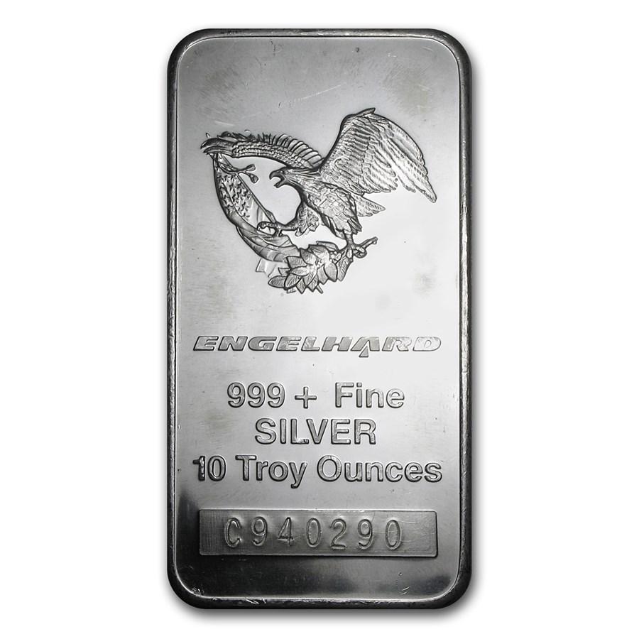 10 oz Silver Bar - Engelhard (Tall, Eagle Design)