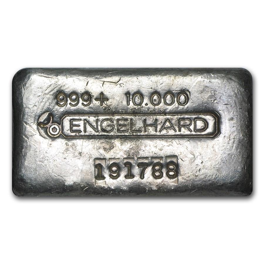 10 oz Silver Bar - Engelhard (Wide, Poured, Bull Logo)