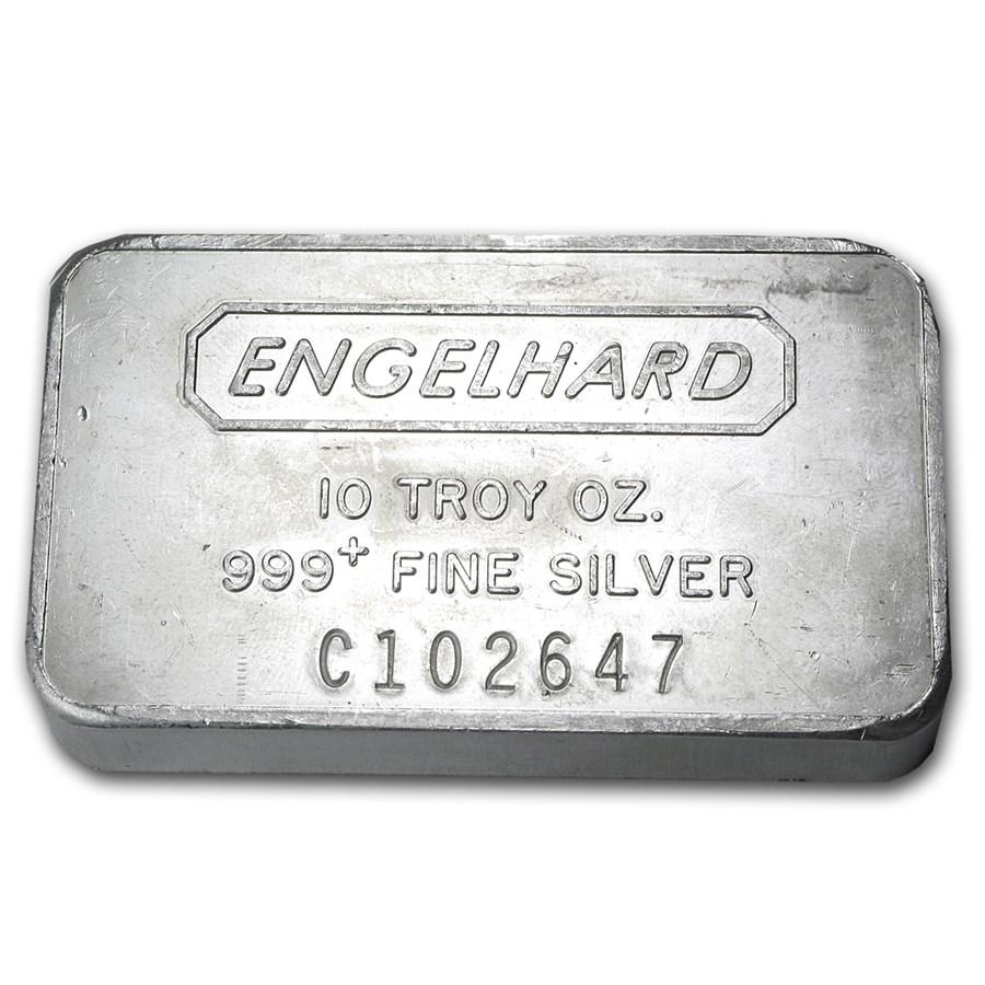 10 oz Silver Bar - Engelhard (Wide-Struck, Frosted Back)