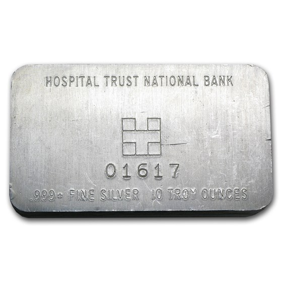 10 oz Silver Bar - Hospital Trust National Bank (Pressed)