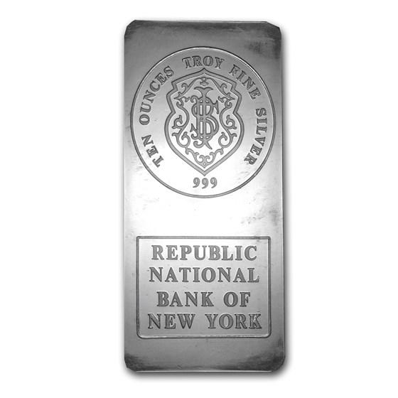 10 oz Silver Bar - Johnson Matthey (Republic National Bank of NY)
