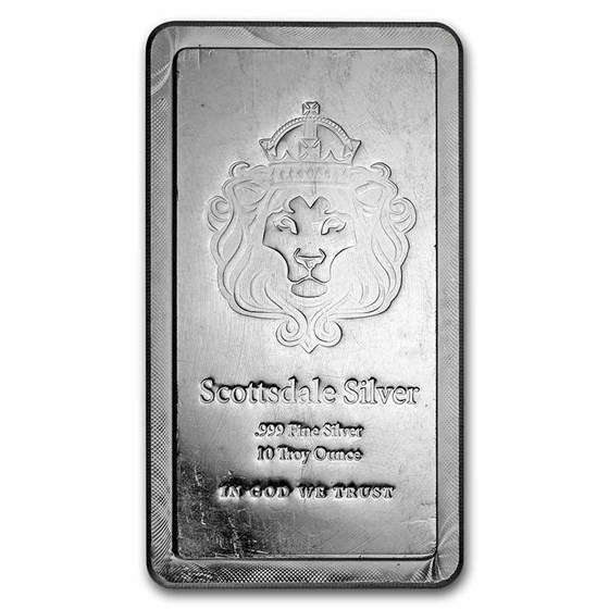 10 oz Silver Bar - Scottsdale Mint (Stackable, Secondary Market)