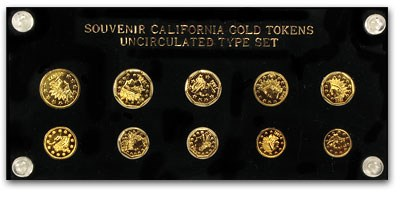 10 Piece California Gold Token Type Set (Replicas)