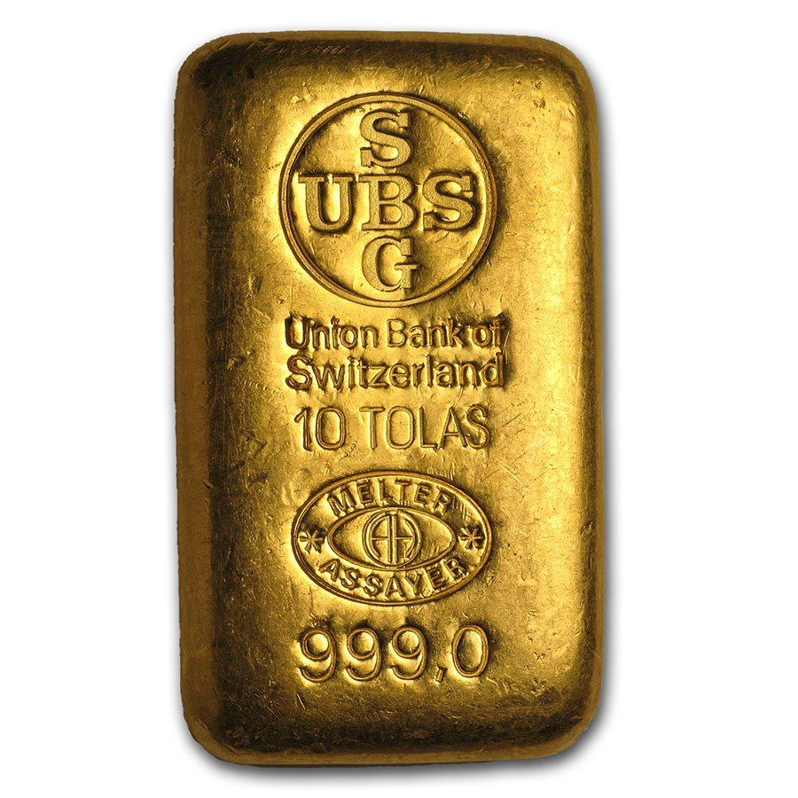 10 Tolas Gold Bar - UBS (3.75 oz)
