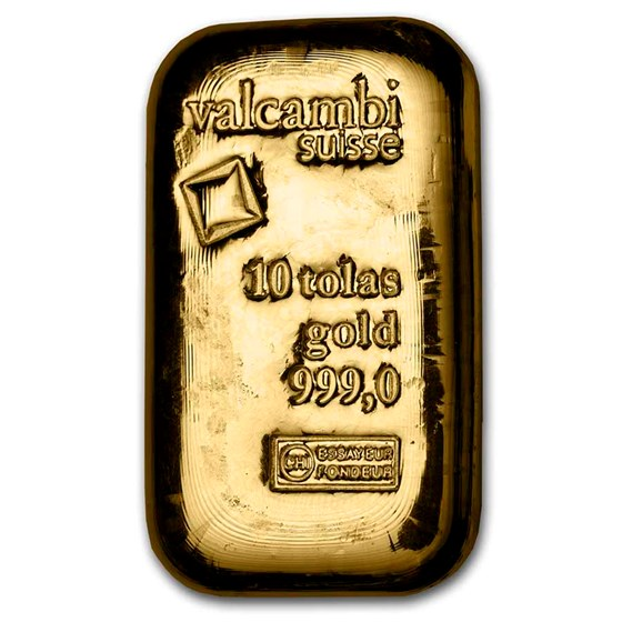 10 Tolas Gold Bar - Valcambi (Poured w/Assay)